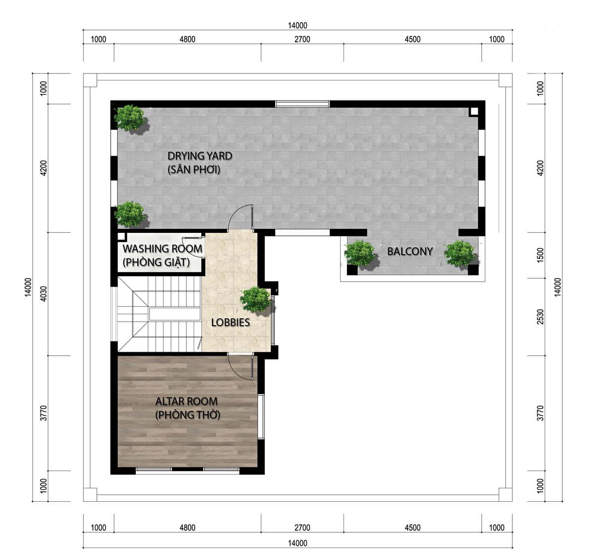 biệt thự 3 tầng mái thái 14x14m