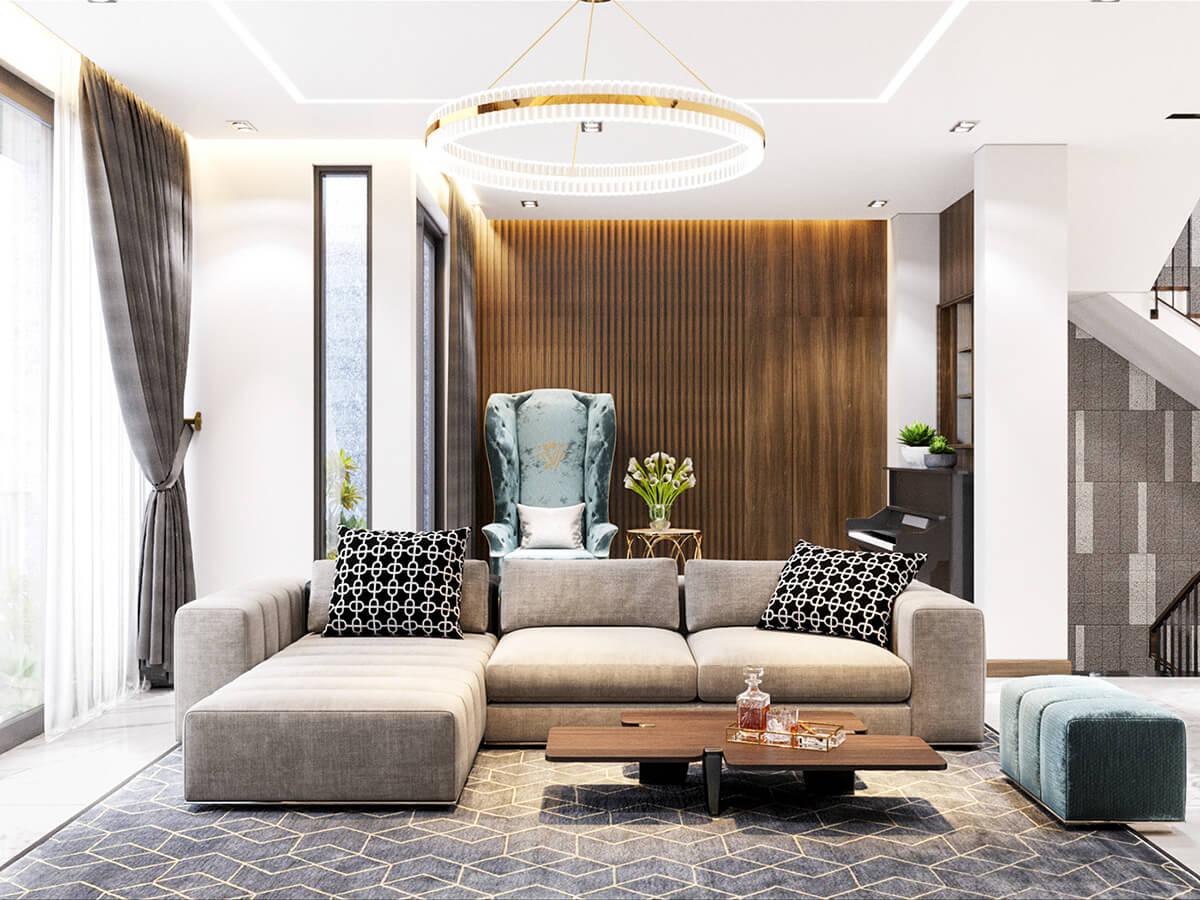 biệt thự mái thái 3 tầng phòng khách