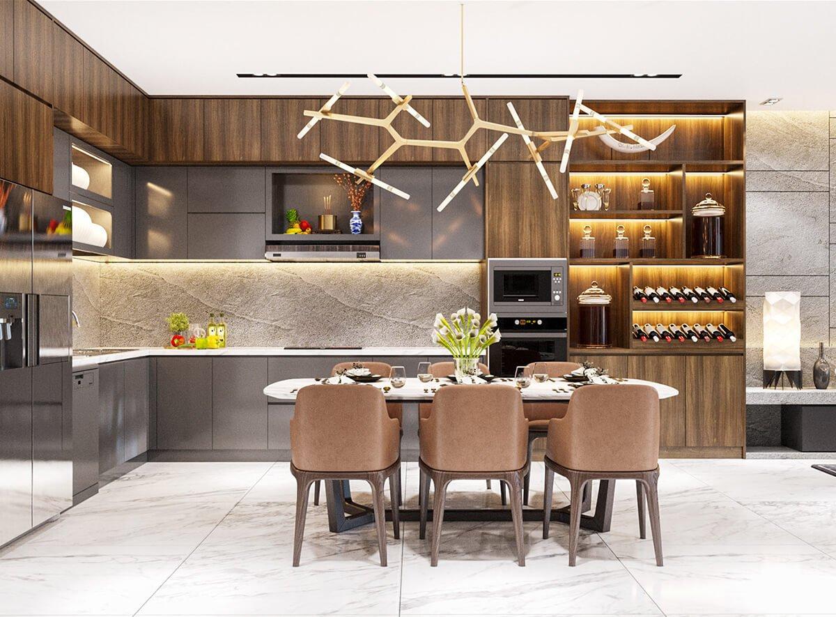 biệt thự mái thái 3 tầng phòng ăn