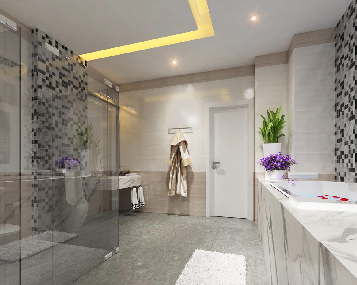 biệt thự mái thái 3 tầng phòng tắm