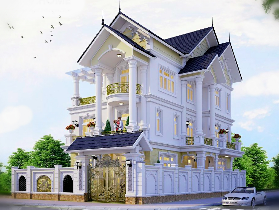 biệt thự 3 tầng mái thái đẹp
