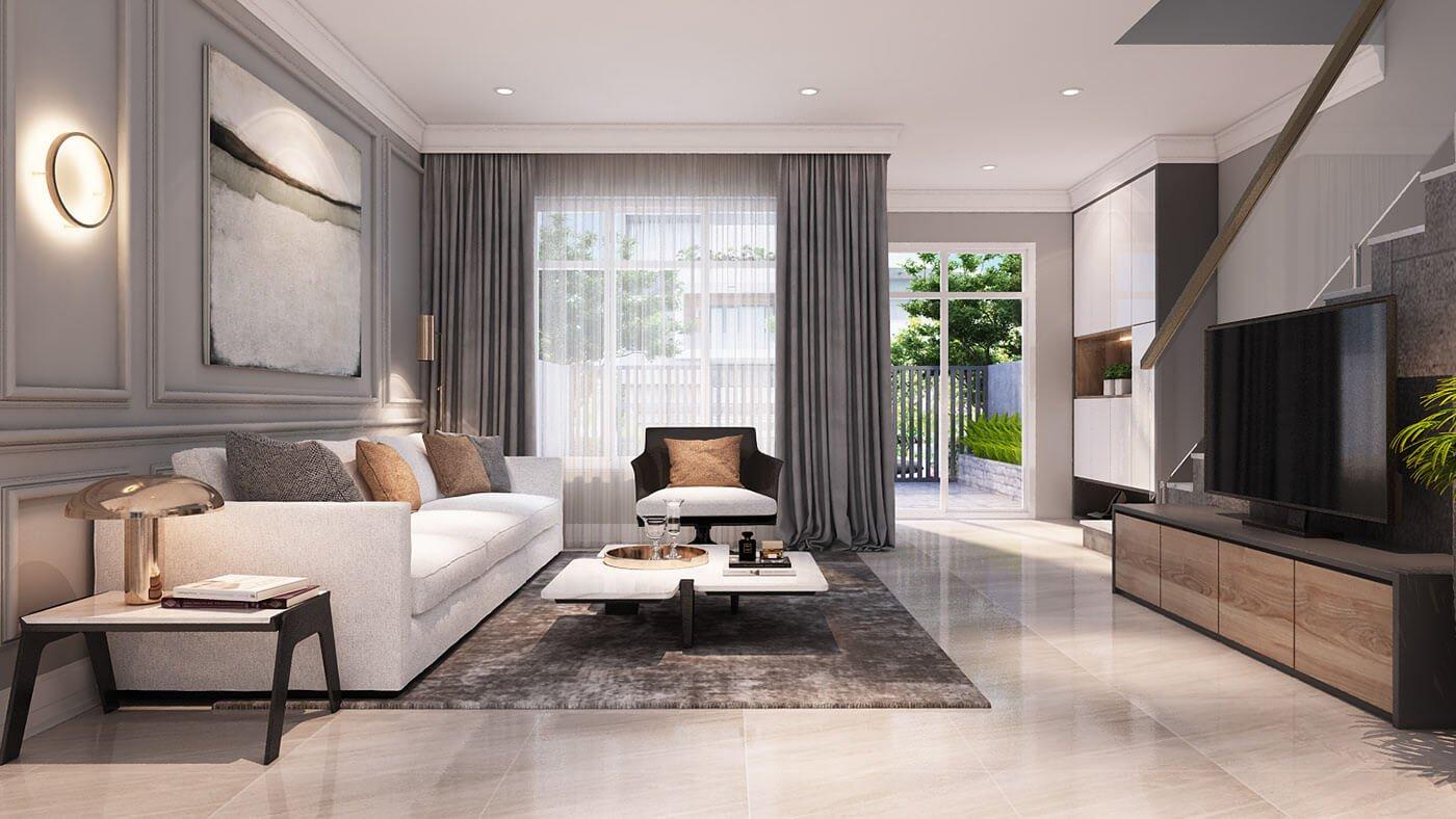 biệt thự 3 tầng mái thái hiện đại phòng khách