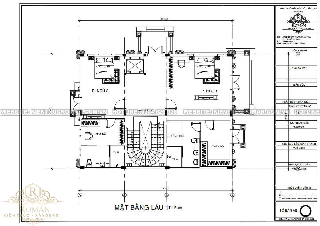 biệt thự 4 tầng có tầng hầm bản vẽ