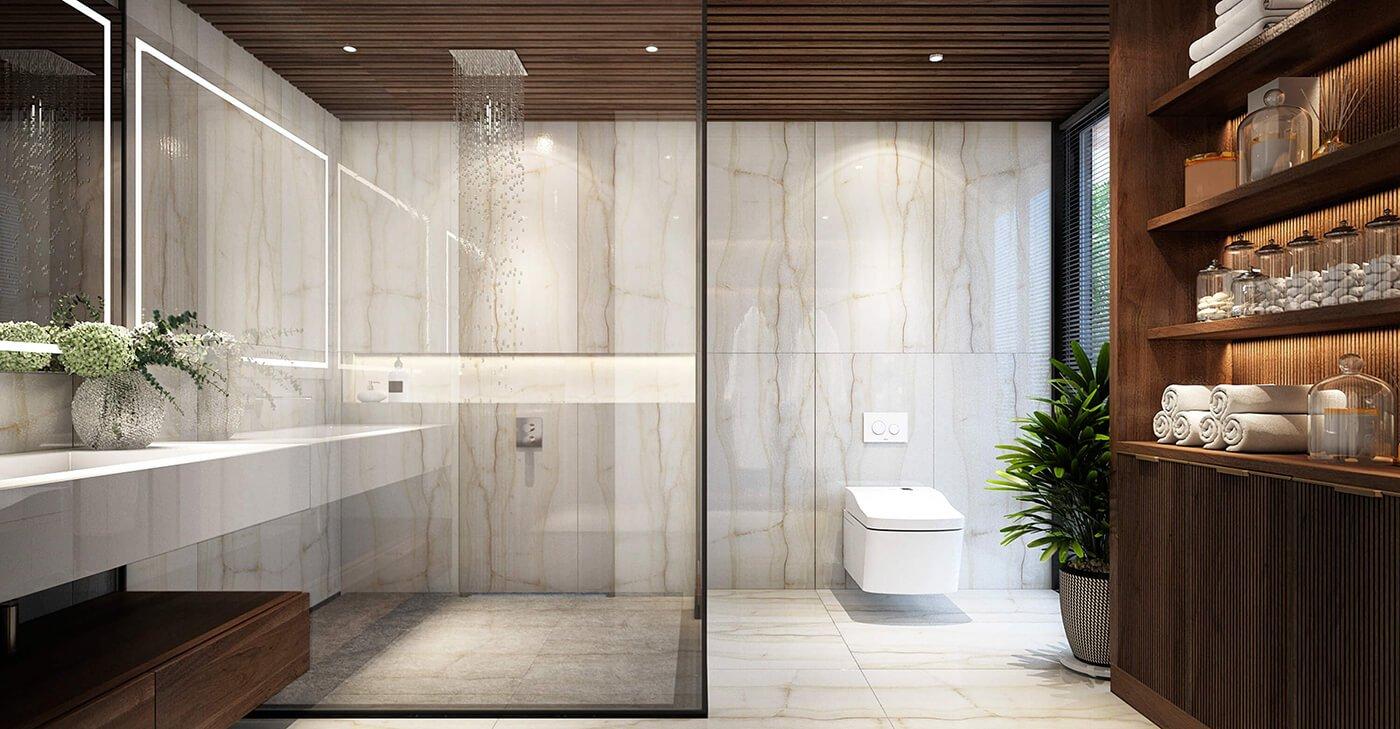 biệt thự 4 tầng hiện đại 7x15m phòng tắm