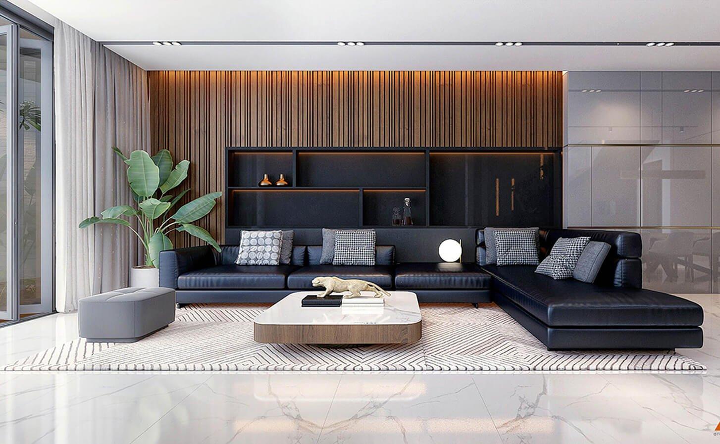 biệt thự 4 tầng hiện đại 7x15m phòng khách