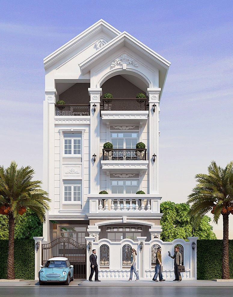 biệt thự 4 tầng tân cổ điển 8x14m