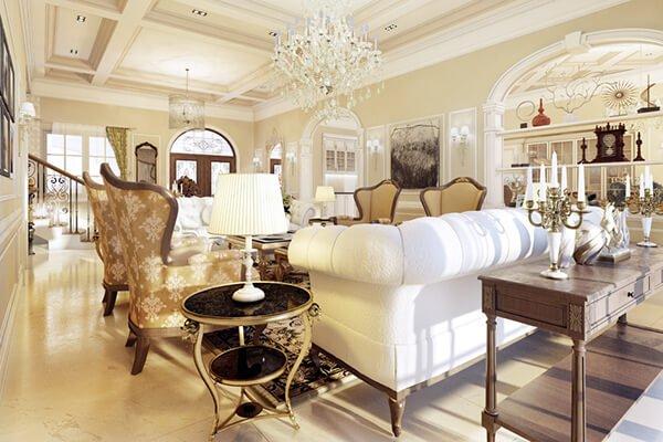 biệt thự 5 tầng kiểu pháp phòng khách