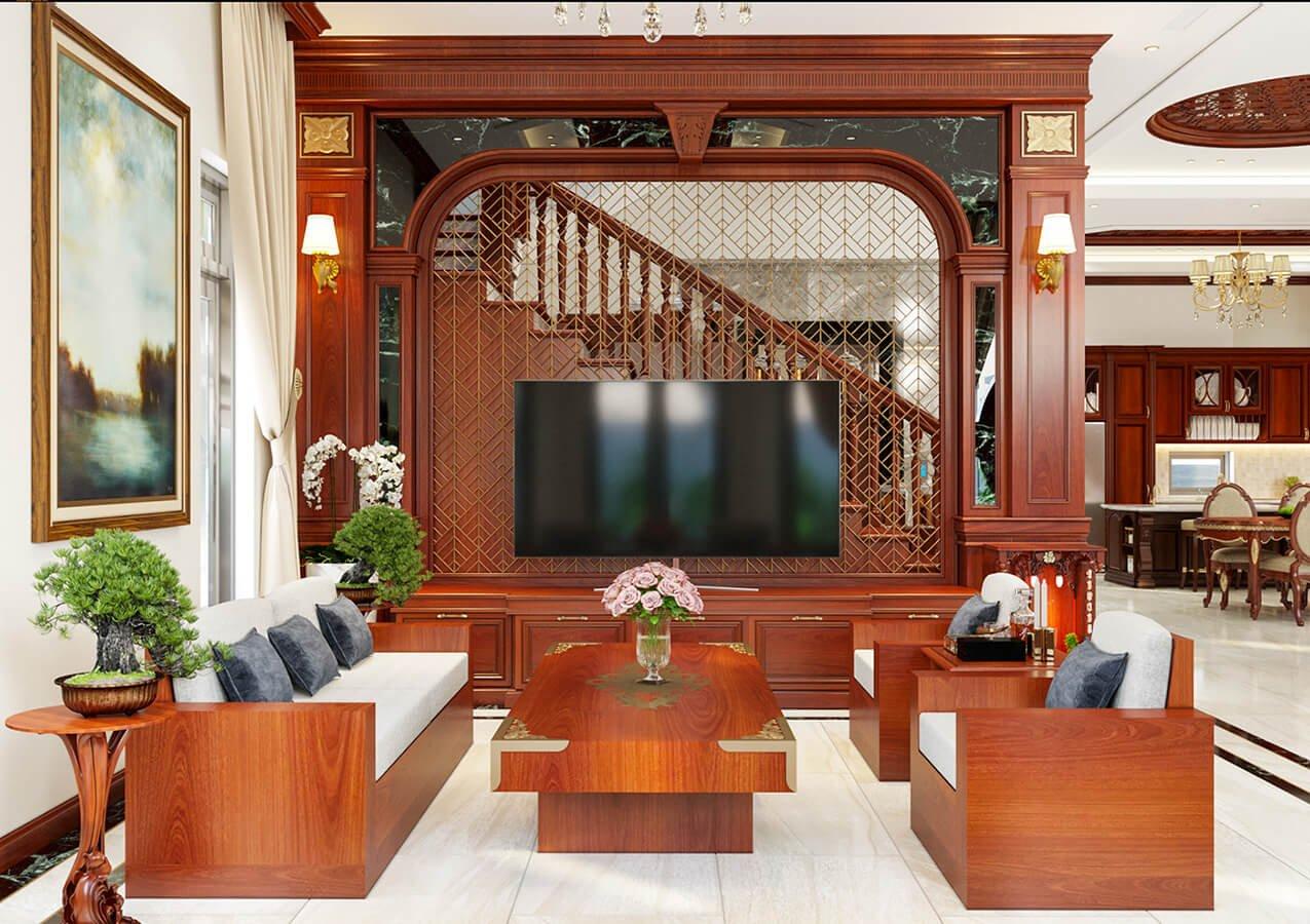 biệt thự cổ điển 215m2 phòng khách