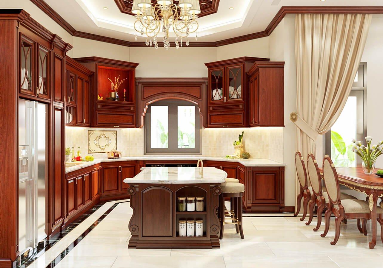 biệt thự cổ điển 215m2 phòng bếp