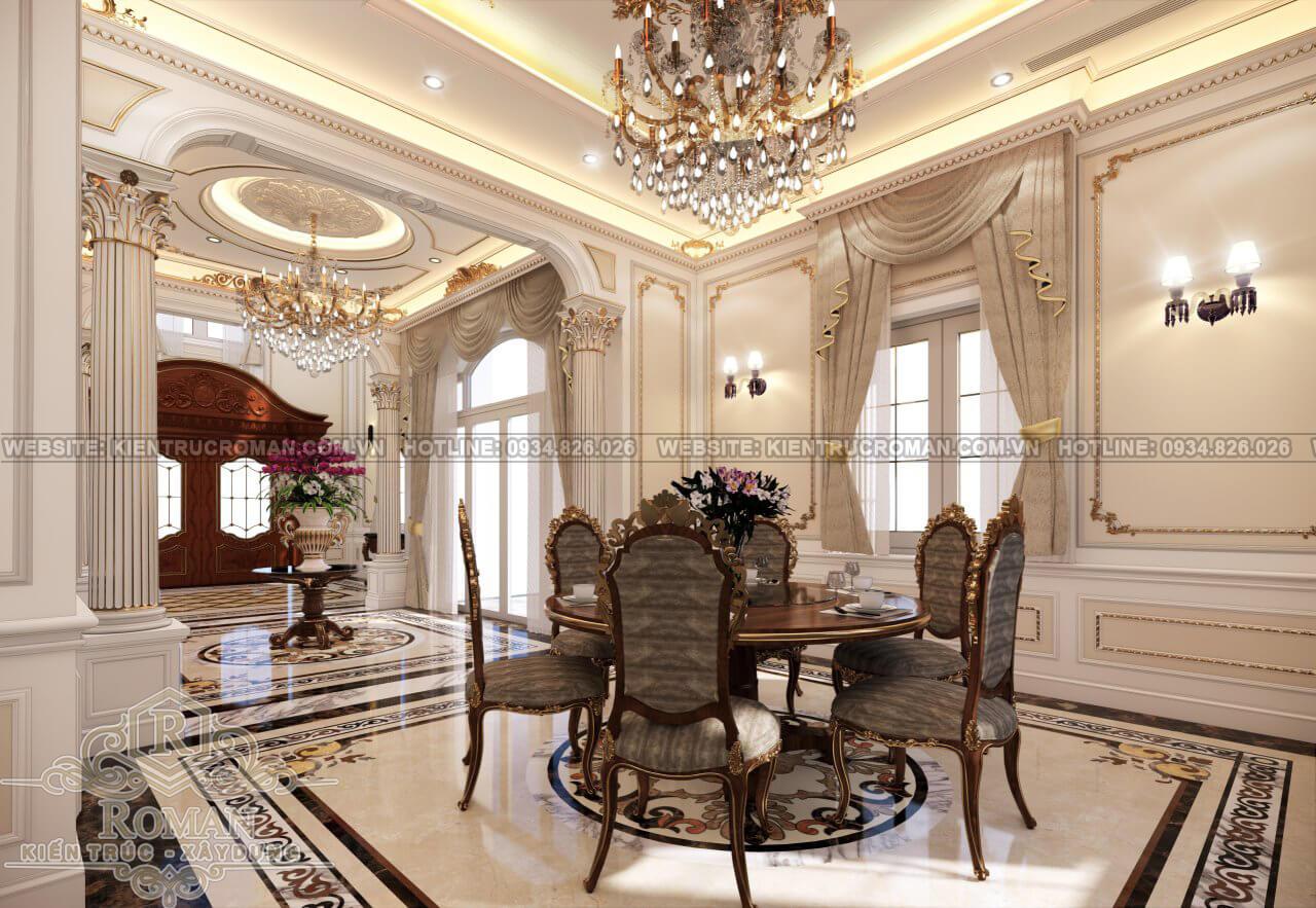 biệt thự cổ điển 4 tầng phòng ăn