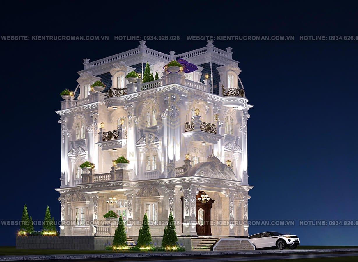 biệt thự cổ điển 4 tầng phối cảnh
