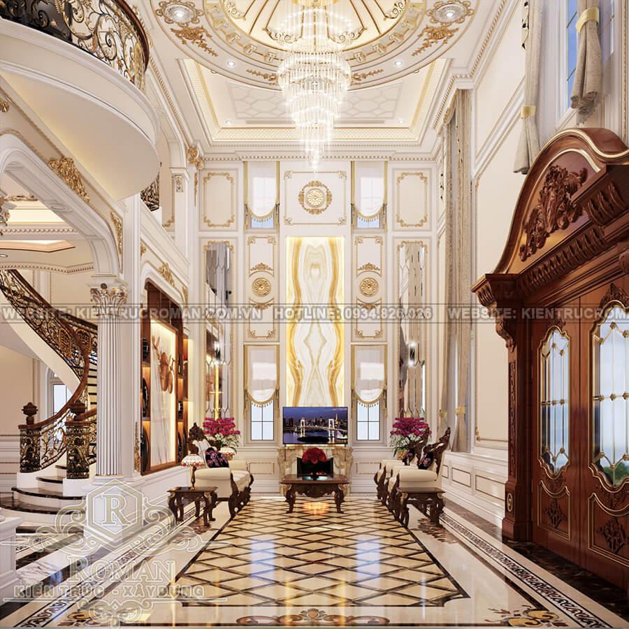 biệt thự cổ điển 4 tầng phòng khách