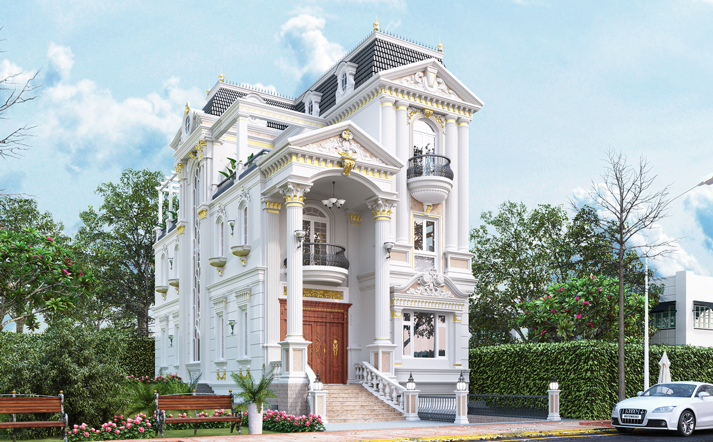 biệt thự cổ điển cao cấp ngoại thất