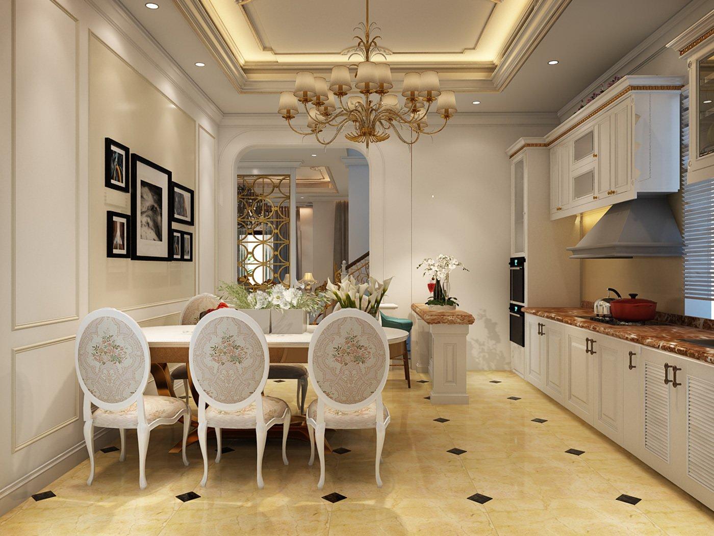 biệt thự cổ điển cao cấp bếp và phòng ăn