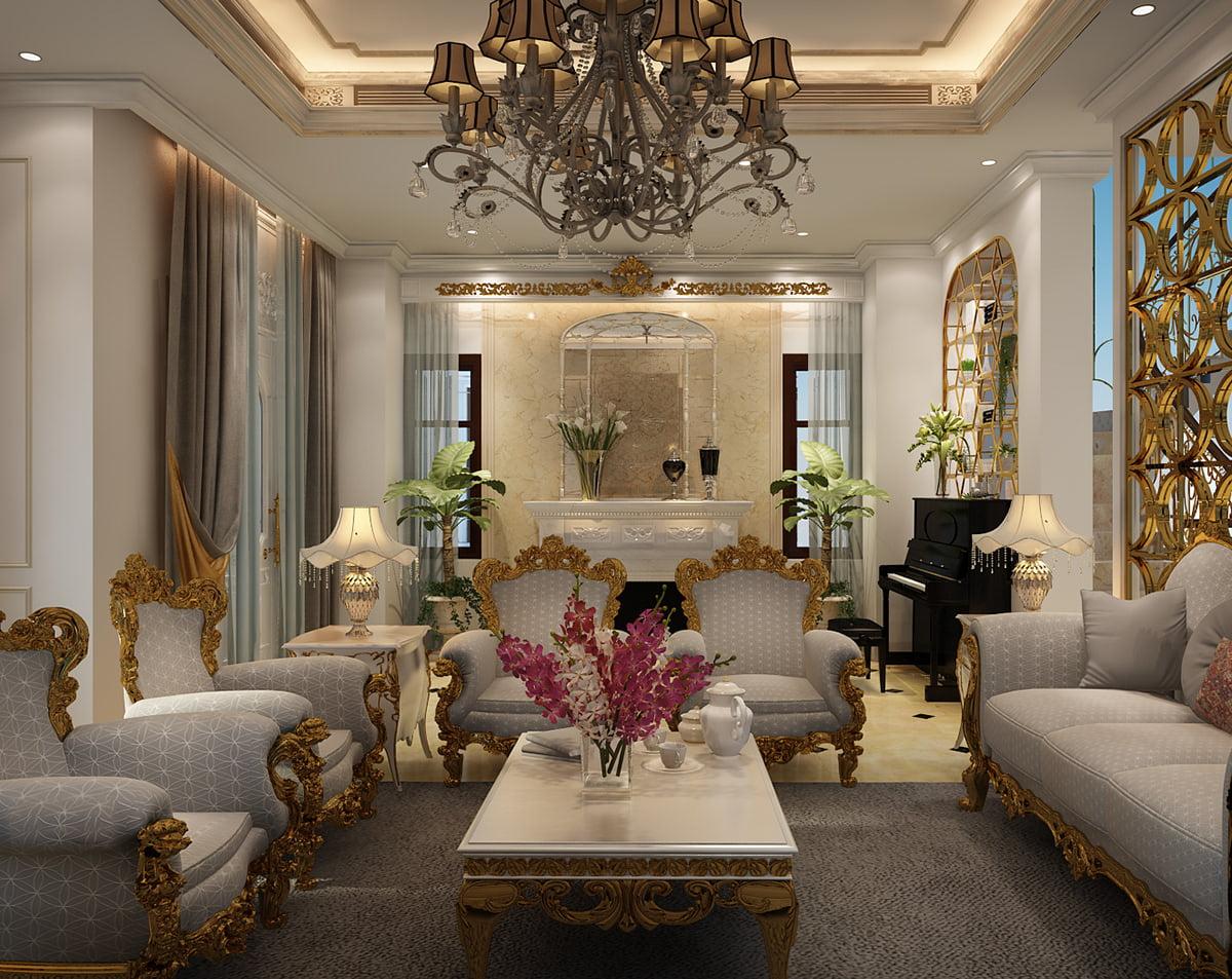 biệt thự cổ điển cao cấp phòng khách