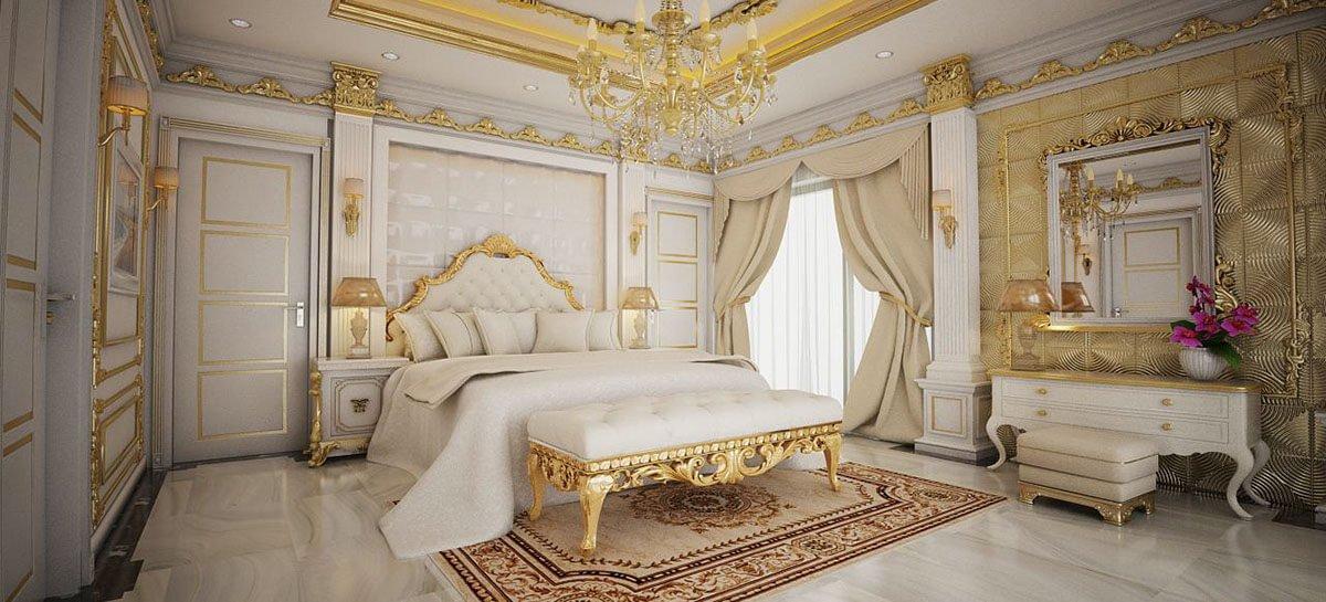 biệt thự cổ điển có hồ bơi phòng ngủ