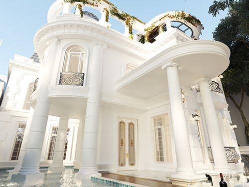 biệt thự cổ điển có hồ bơi