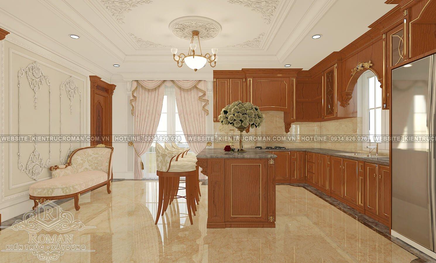 biệt thự cổ điển kiểu pháp phòng bếp