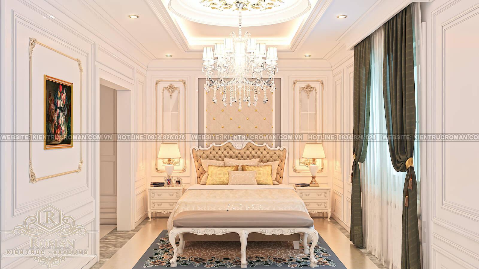 biệt thự cổ điển kiểu pháp phòng ngủ ông bà
