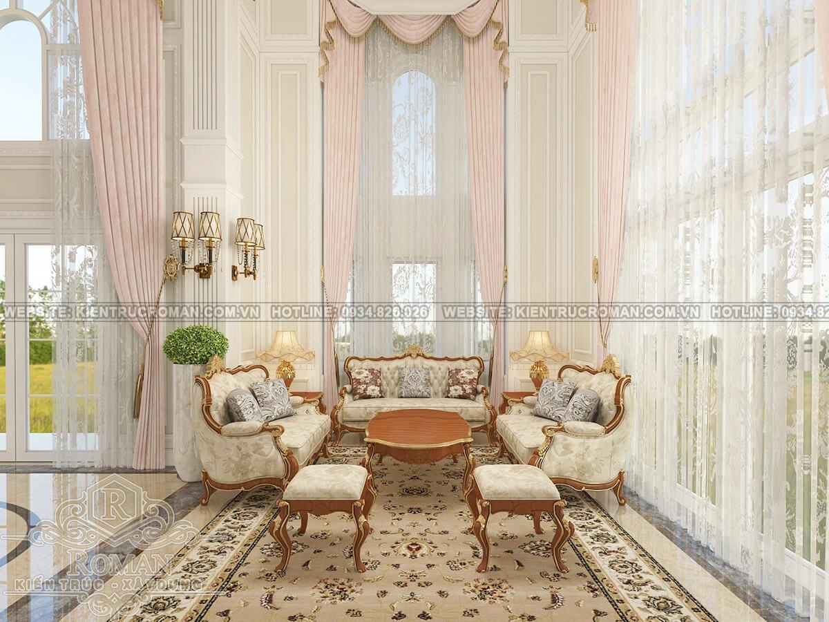 biệt thự cổ điển kiểu pháp phòng khách