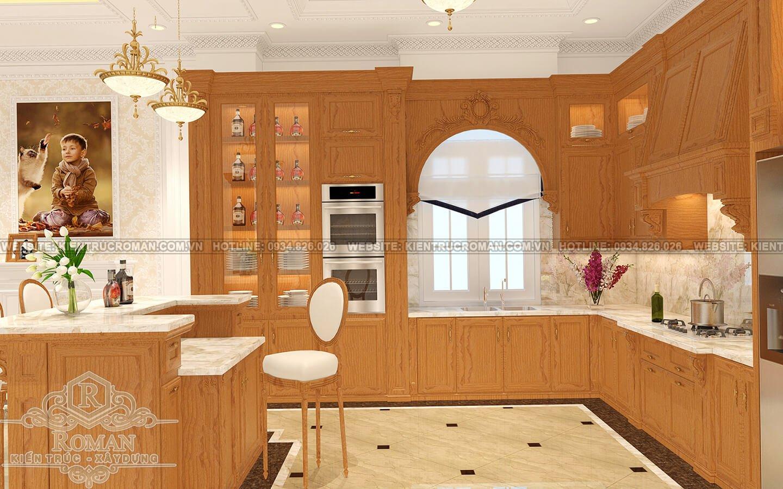biệt thự cổ điển pháp phòng bếp