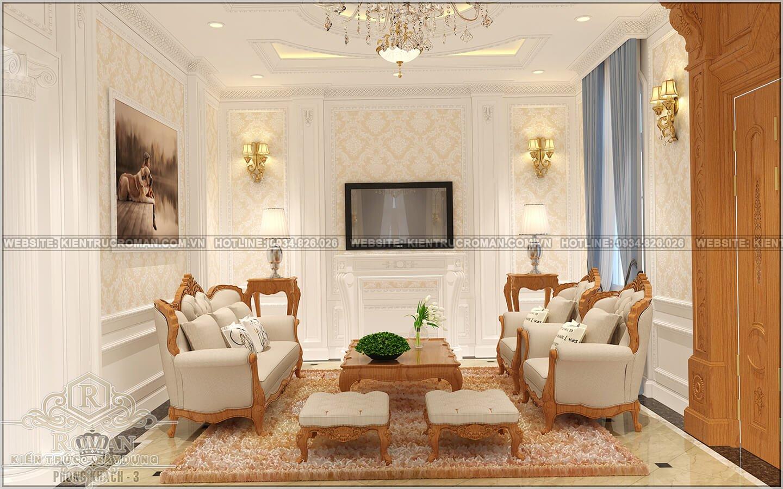 biệt thự cổ điển pháp phòng khách