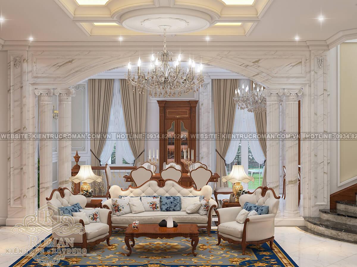 biệt thự có tầng hầm phòng khách