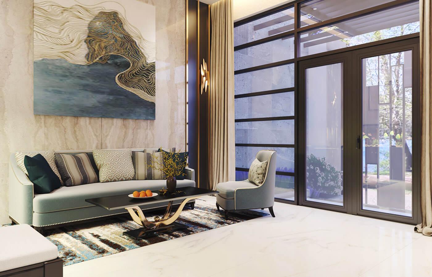 biệt thự hiện đại 140m2 phòng khách