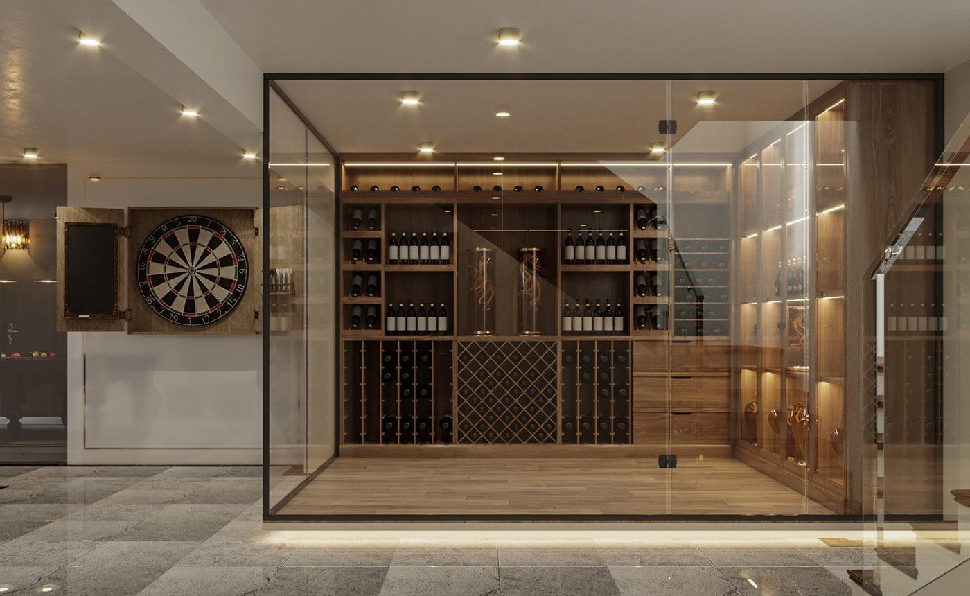 biệt thự hiện đại 150m2 phòng rượu