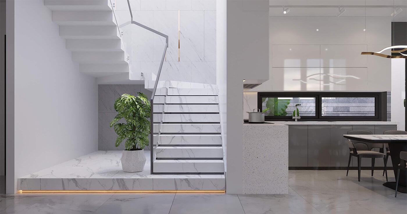biệt thự hiện đại 15x20m cầu thang