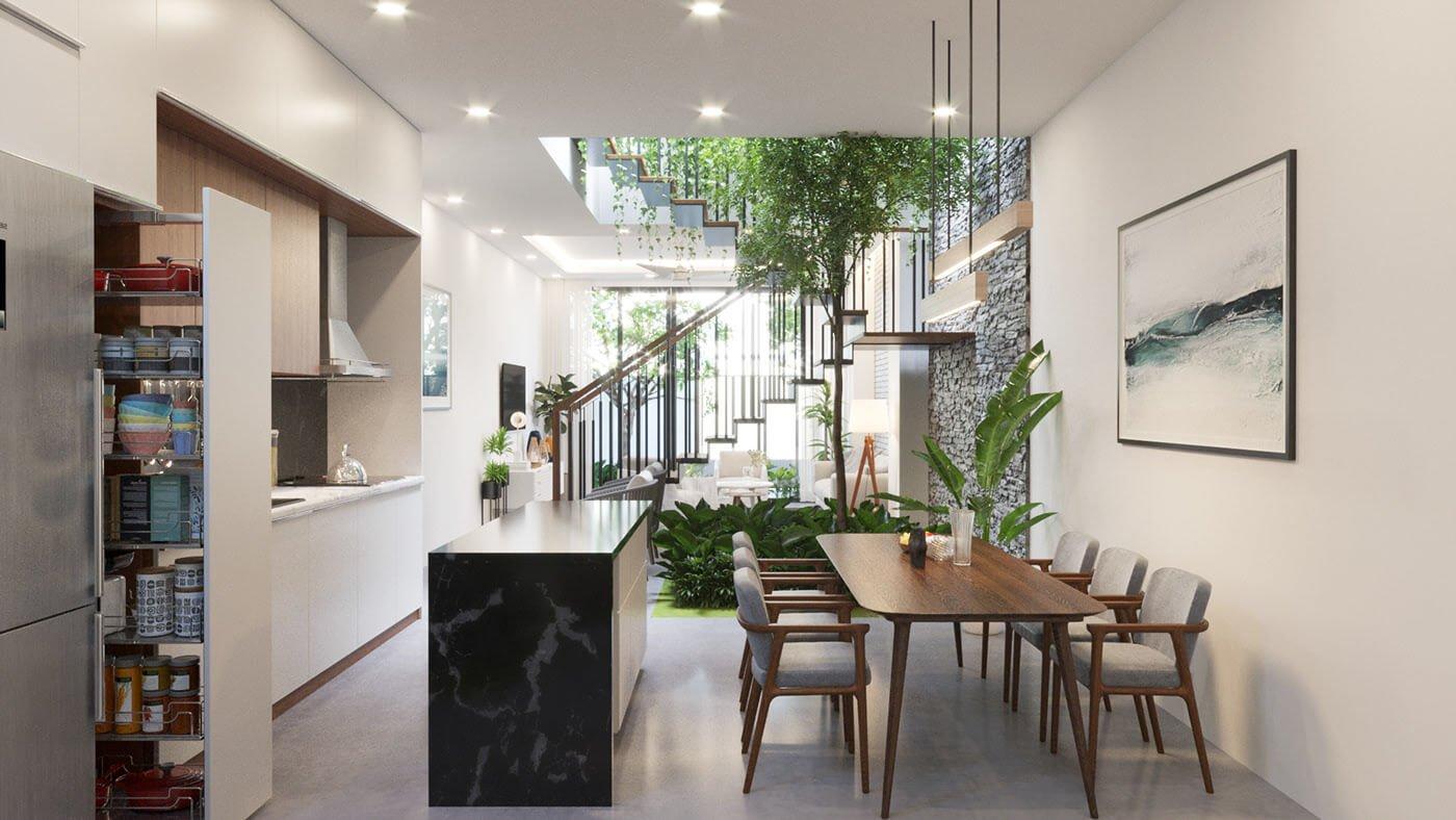biệt thự hiện đại 160m2 phòng bếp