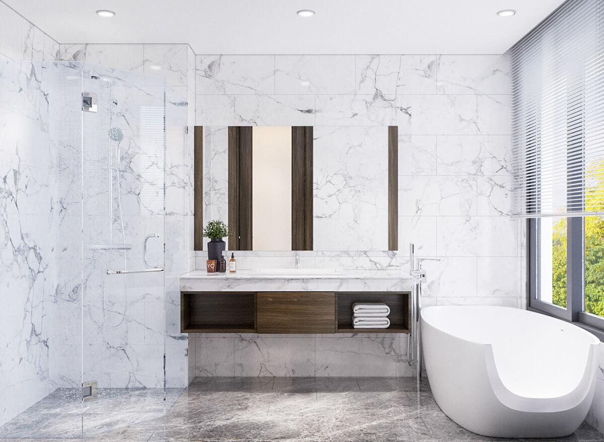 biệt thự hiện đại 2 mặt tiền phòng tắm