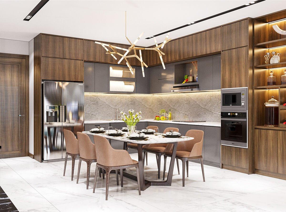 biệt thự hiện đại 2 mặt tiền bếp nấu và phòng ăn