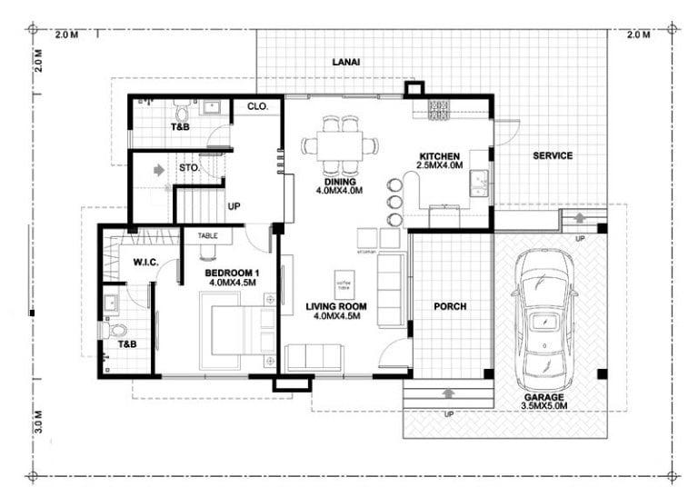 biệt thự hiện đại 2 tầng 15x22m