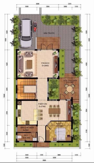 biệt thự hiện đại 3 tầng 2 mặt tiền
