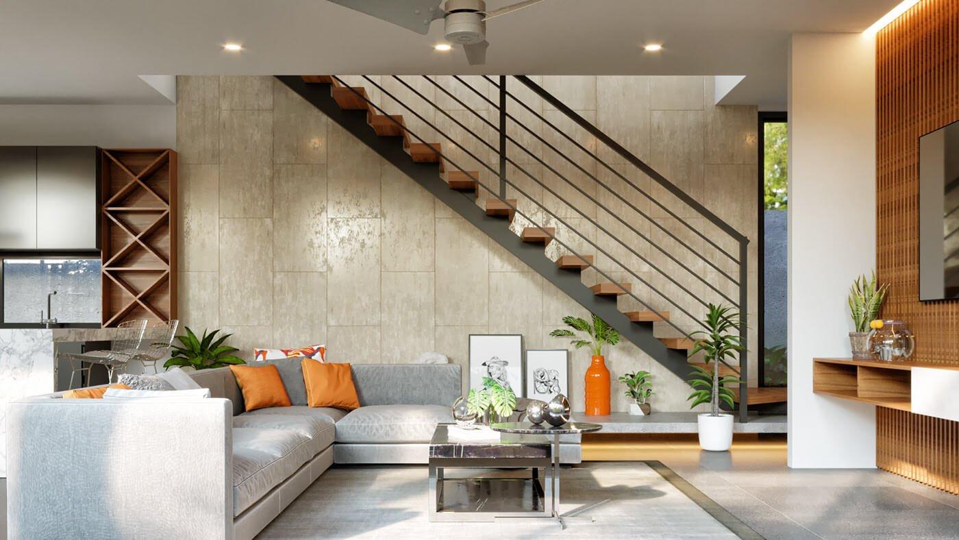 biệt thự hiện đại 2 tầng phòng khách
