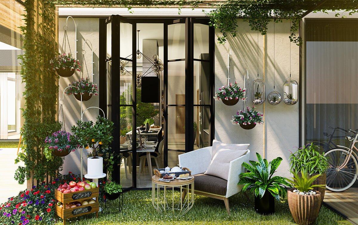 biệt thự hiện đại cao cấp tiểu cảnh sân vườn