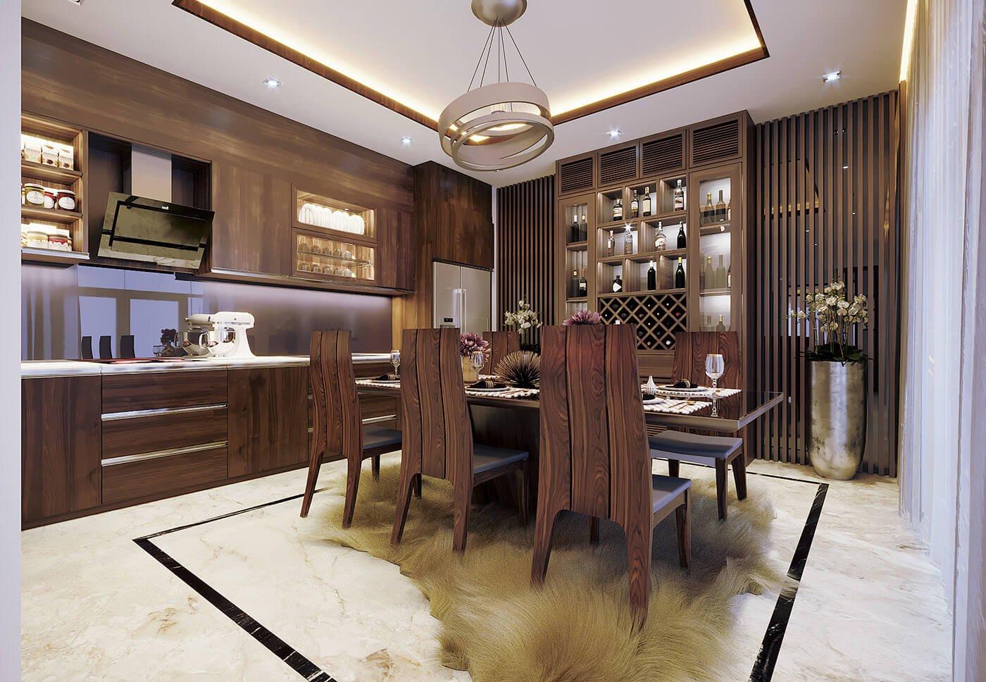biệt thự hiện đại mái thái phòng ăn