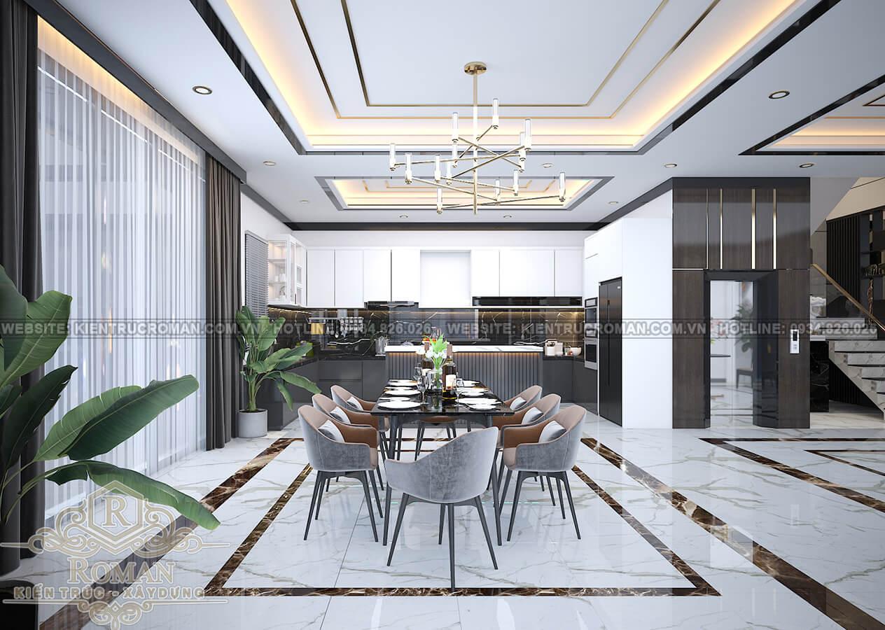 biệt thự hiện đại ở Sài Gòn phòng ăn
