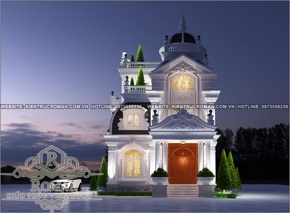 mặt tiền biệt thự kiến trúc cổ điển