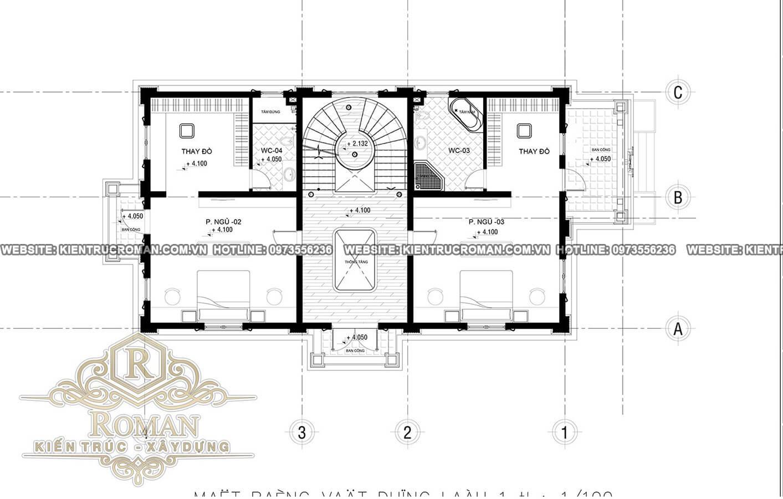 lầu 1 biệt thự kiến trúc cổ điển
