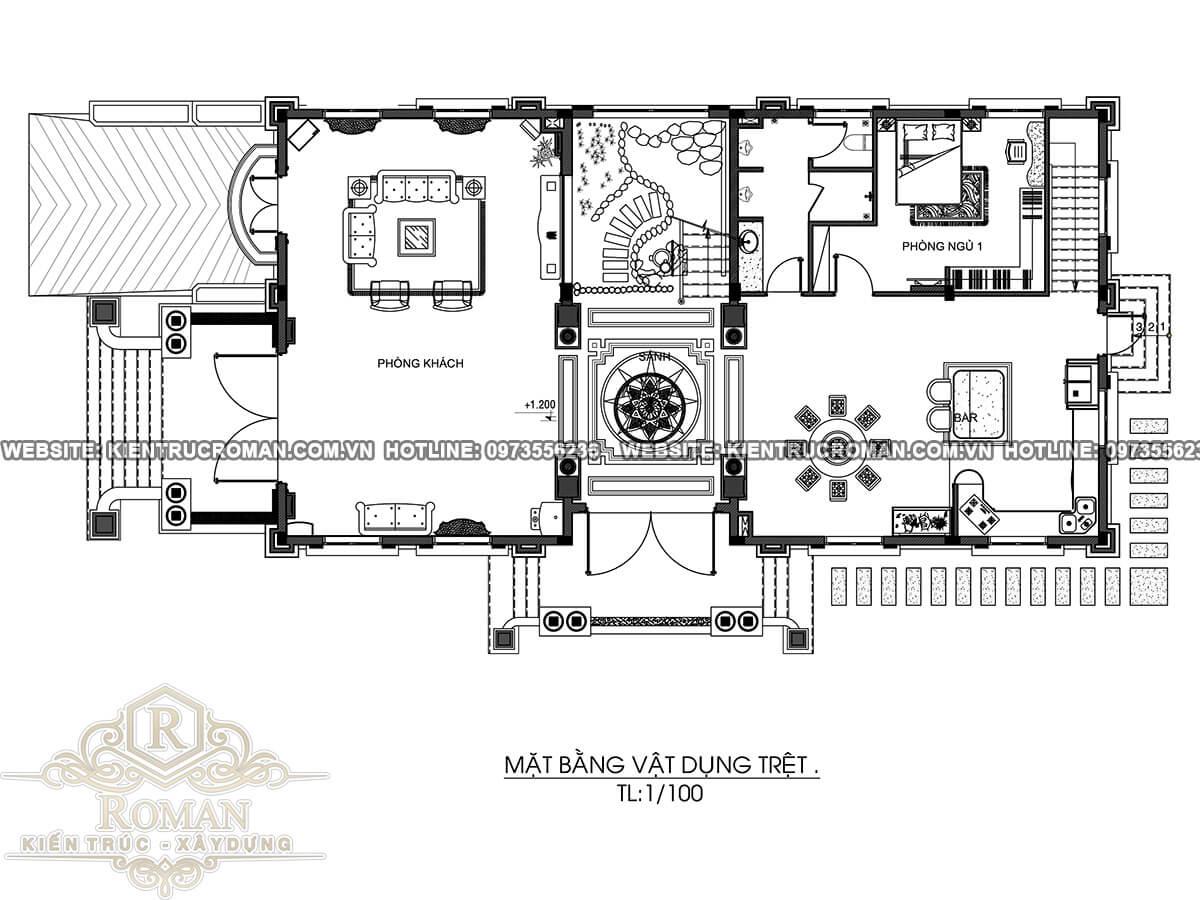 mặt bằng tầng trệt biệt thự kiến trúc tân cổ điển