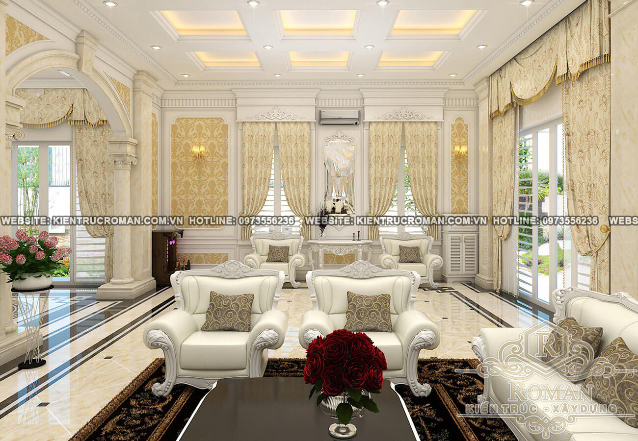 Kiến trúc tân cổ điển không chú trọng vào một đường nét mà thay vào đó là sự hài hòa màu sắc nhẹ nhàng có phần hiện đại dễ dàng tạo thiện cảm cho người nhìn. Bức tường hoa cùng với những rèm cửa đồng điệu với màu sắc và thảm trải sàn màu đen đối lập như làm nổi bật thu hút sự chú ý trong thiết kế nội thất phòng khách.