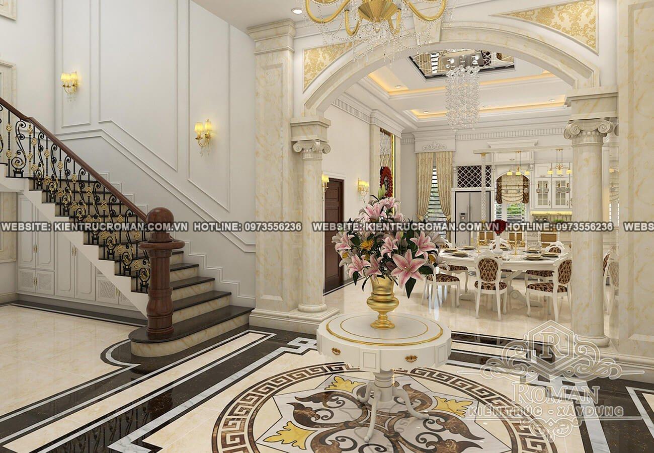 phòng khách biệt thự kiến trúc tân cổ điển