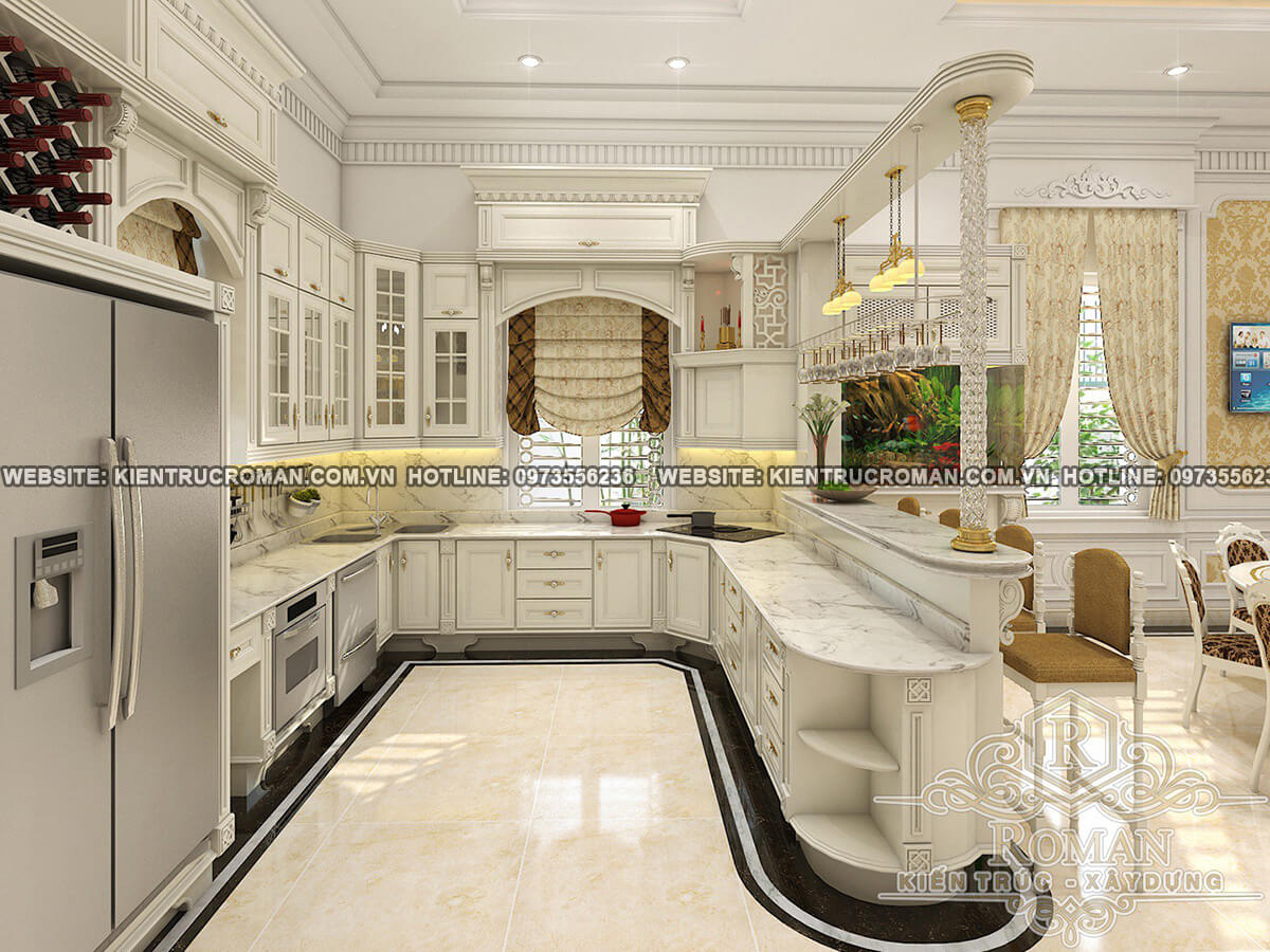 nhà bếp biệt thự kiến trúc tân cổ điển