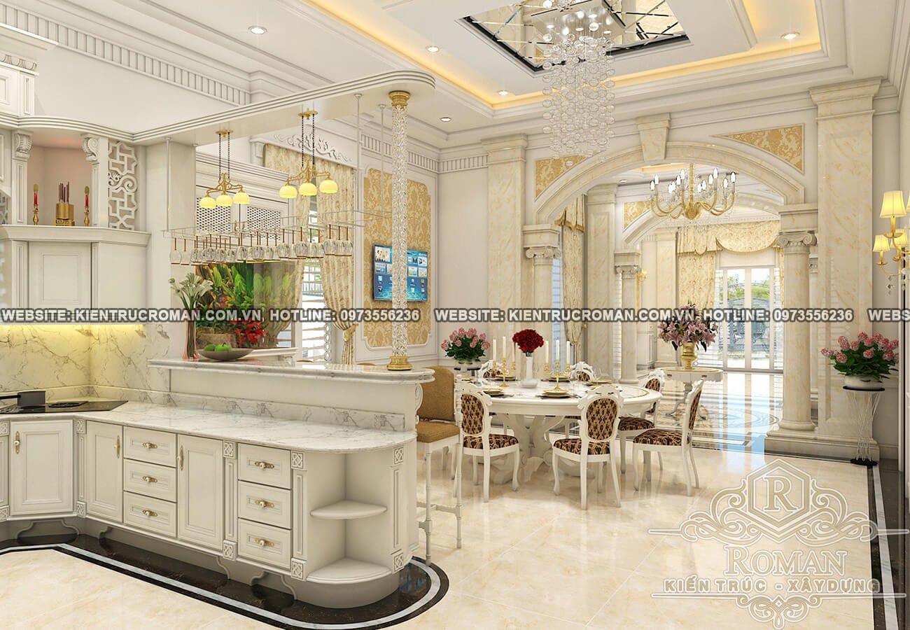 phòng ăn biệt thự kiến trúc tân cổ điển