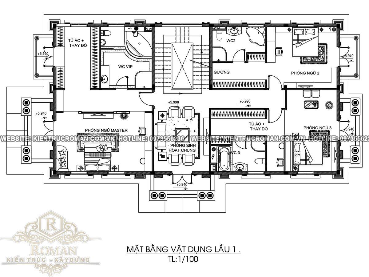mặt bằng lầu 1 biệt thự kiến trúc tân cổ điển