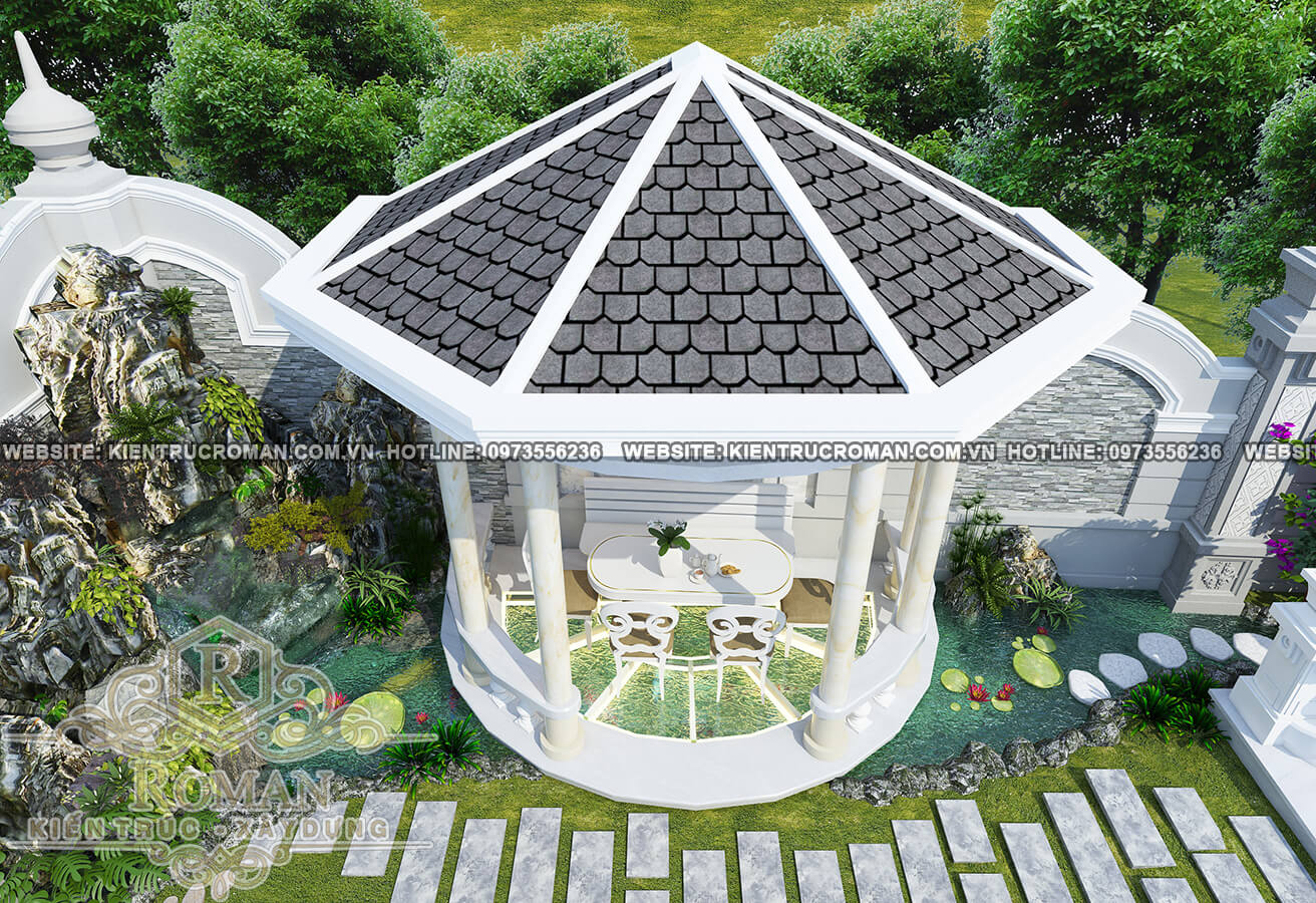sân vườn kiến trúc biệt thự tận cổ điển