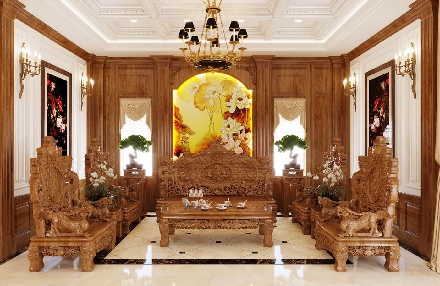 biệt thự kiểu cổ điển 5 tầng phòng khách