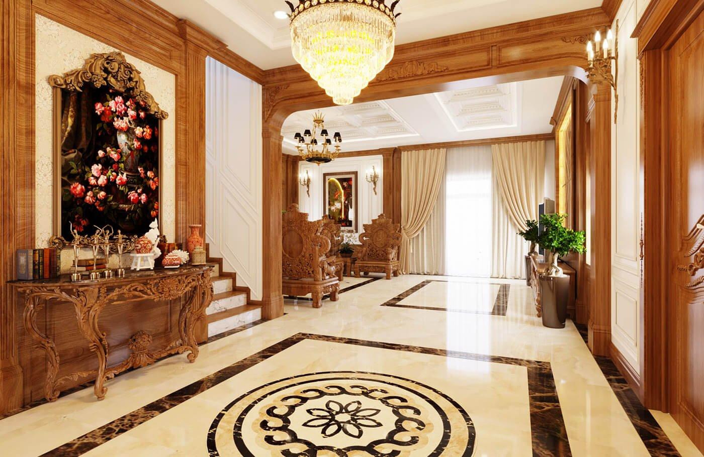 biệt thự kiểu cổ điển 5 tầng sảnh